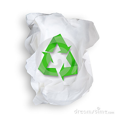 Tissue Paper and recycle symbol.