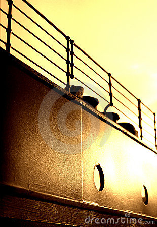 Free Titanic Railings & Fairlead - Sepia Version Stock Photography - 1133922