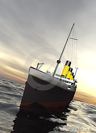 Titanic ship sailing in calm evening waters