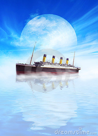 Titanic ship sailing in calm waters with moon.
