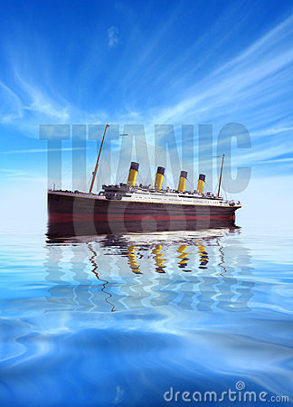 Titanic ship with text in calm waters
