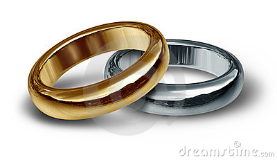 Titanium and gold wedding rings symbol