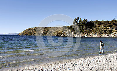 Titicaca Lake, Bolivia, Isla del Sol landscape Editorial Photo