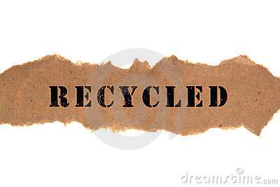 Title Word Recycled on Brown Paper Banner