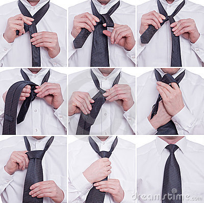Tiying a tie with a windsor knot