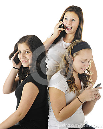 Téléphoner de jeunes adolescents