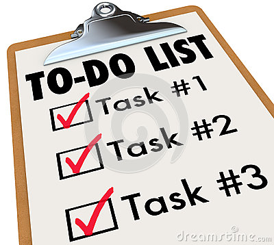 Free To-Do List Tasks Clipboard Checkmark Words Remember Goals Stock Photography - 31478262
