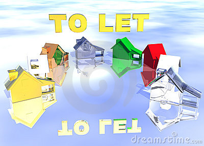 To Let Gold Text Ring of Various Types of Houses