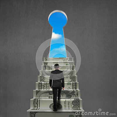 Free To Top Of Money Stairs With Key Hole And Sky Stock Photos - 38404253