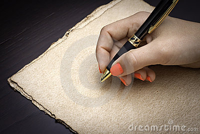 About to write on coffe paper