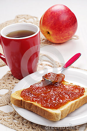 Toast bread with jam and tea