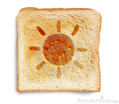 Toast bread with sun drawing