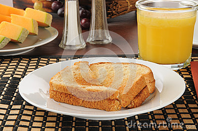 Toast and canteloupe