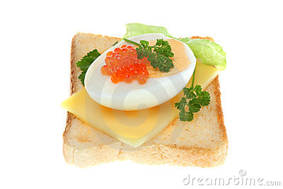 Toast with egg and caviar.