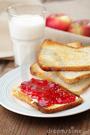 Toast with jam and milk