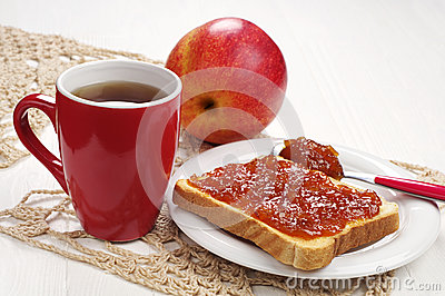 Toast with jam and tea