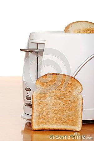 Toast leaning on toaster