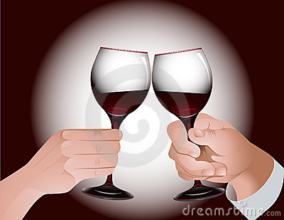 Toast with red wine