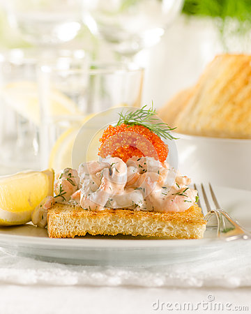 Free Toast Skagen - Srimp And Caviar On Toast Stock Images - 37154644