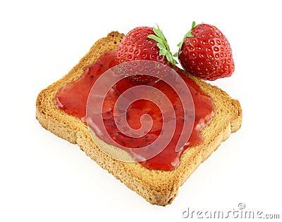 Toast and strawberry jam