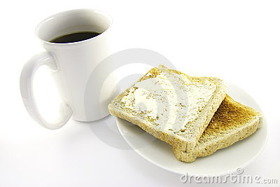 Toast on a White Plate with Coffee
