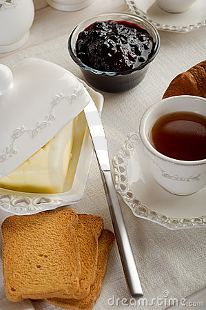 Toasted bread with butter, jam and tea