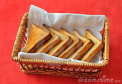 Toasted bread in the wicker basket