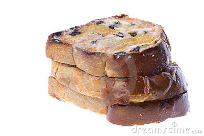 Toasted Raisin Bread Slices Isolated