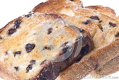 Toasted Raisin Bread Slices Isolated