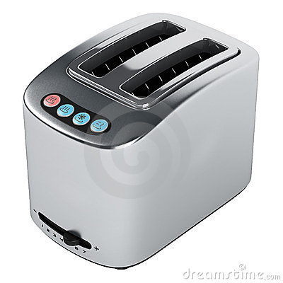 Toaster with blue buttons
