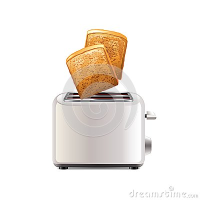 Free Toaster With Toast Isolated On White Vector Stock Image - 47124361