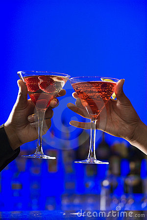 Toasting Cocktails in Martini Glasses