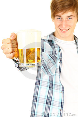 Toasting young man with beer
