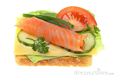 Toasts with salmon vegetables.