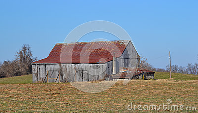 Tobacco Barn with Rusted Roof
