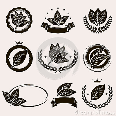Free Tobacco Leaf Label And Icons Set. Vector Stock Image - 51085211