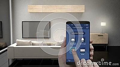 Tocando na aplicação móvel de IoT, tevê da sala de visitas, ampola, controle de poupança de energia cego da eficiência, aparelhos ilustração do vetor