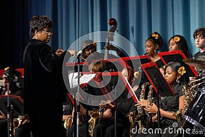 Toda la venda de jazz de las muchachas Foto de archivo editorial