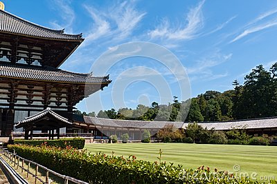 Todai-ji temple against blue sky