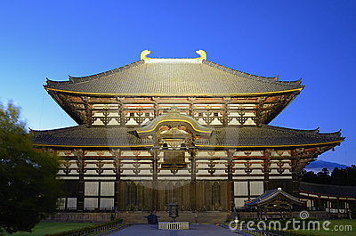 Todai-ji Temple in Nara, Japan During Light Up