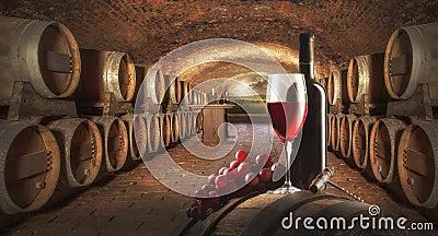 Todavía vida con el vino rojo