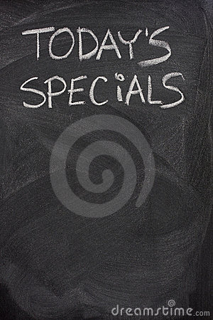 Today s specials text on blackboard