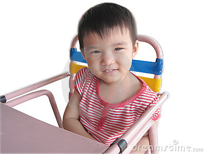 Toddler on Baby Chair