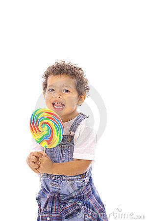 Toddler with big lollipop