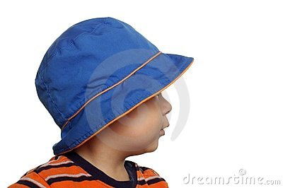 Toddler with blue hat, one year
