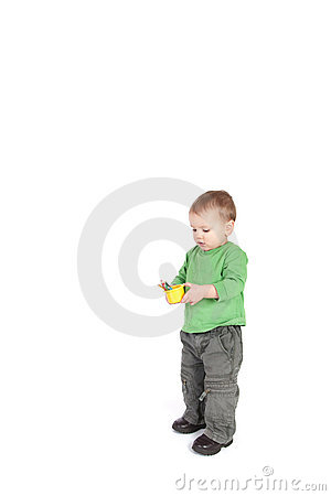 Toddler boy child holding kids pencils isolated