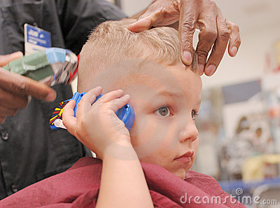 Toddler Boy Getting Haircut