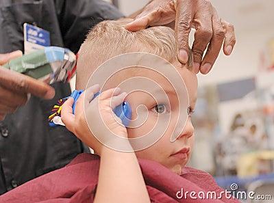Toddler Boy Getting Haircut