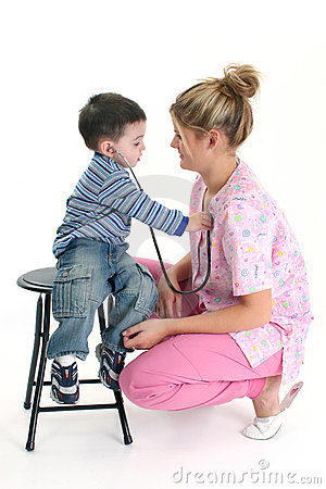 Toddler Boy Listening To Nurse s Heart
