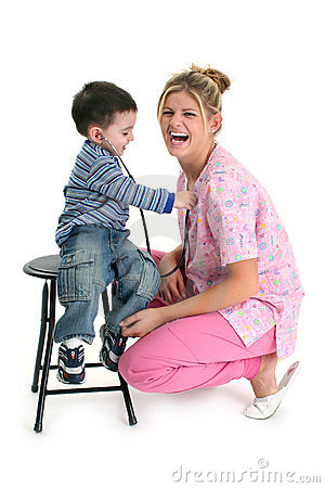 Free Toddler Boy Listening To Nurse S Heart Royalty Free Stock Images - 303609
